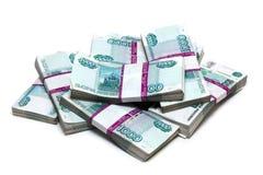 Million de roubles - segment de mémoire des factures dans les paquets Image stock
