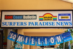 Banner over shop entrance Royalty Free Stock Images