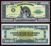 Million Dollar Bill. The front and back of a fake million dollar bill Royalty Free Stock Photos