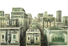 Million Dollar City. Photo-illustration of city made out of U.S. currency Stock Image