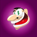 Million dollar dream sparks enthusiasm. Man with a big grin on his face gets spirited by the dream of becoming rich and US$ figures symbolize his passion Royalty Free Stock Photos