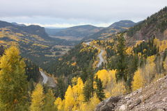 Million Dollar Frwy. This picture was taken between Silverton and Ouray Colorado in October 2016 Stock Photo