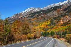 Million dollar highway. Scenic Million dollar high way goes through San Juan mountains stock images