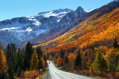Million dollar highway. Scenic million dollar highway between Ourey and Silverton royalty free stock image