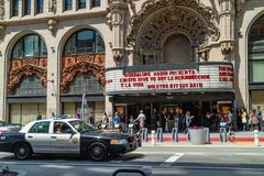 The Million Dollar Theatre, Broadway, Downtown Los Angeles. The Theatre is one of the first movie palaces built in the United Stat royalty free stock photos