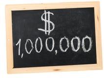 Million dollars. Written on a black board royalty free stock image