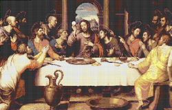 12 Million Fliesen lastsupper Stockbild