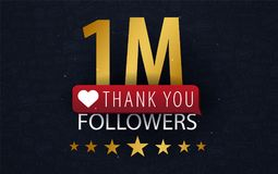 1 million Followers illustration with thank you on a button. Vector illustration. 1 million Followers illustration with thank you on a button. Vector Royalty Free Stock Images