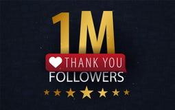 1 million Followers illustration with thank you on a button. Vector illustration. 1 million Followers illustration with thank you on a button. Vector stock illustration