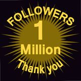 1 million followers illustration with thank you Stock Photography