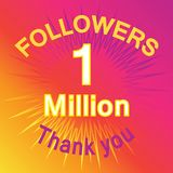 1 million followers illustration with thank you Royalty Free Stock Image