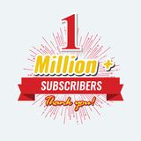 1 Million followers or subscribers achivement symbol design with ribbon and star for social media. Vector illustration. 1 Million followers or subscribers vector illustration