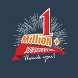 1 Million followers or subscribers achivement symbol design with ribbon and star for social media. Vector illustration. 1 Million followers or subscribers royalty free illustration