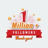 1 Million followers or subscribers achivement symbol design with ribbon and star for social media. Vector illustration. 1 Million followers or subscribers stock illustration
