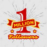 1 Million followers achivement symbol. 1 Million followers or subscribers achivement symbol. Vector illustration stock illustration