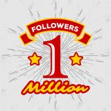 1 Million followers achivement symbol. 1 Million followers or subscribers achivement symbol. Vector illustration vector illustration
