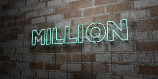 MILLION - Glowing Neon Sign on stonework wall - 3D rendered royalty free stock illustration. Can be used for online banner ads and direct mailers royalty free illustration