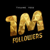 1 million internet follower gold thank you card. 1 million followers thank you gold paper cut number illustration. Special user goal celebration for 1000000 Stock Images