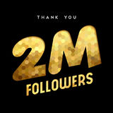 2 million internet follower gold thank you card. 2 million followers thank you gold paper cut number illustration. Special user goal celebration for 2000000 Stock Image