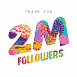 2 million internet follower number thank you card. 2 million followers thank you paper cut number illustration. Special user goal celebration for 2000000 social Stock Photography