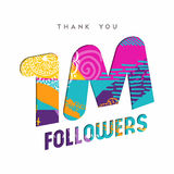 1 million internet follower number thank you card. 1 million followers thank you paper cut number illustration. Special user goal celebration for 1000000 social Royalty Free Stock Image