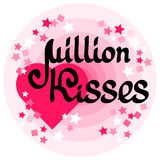 Million Kisses card with handwritten words, heart and stars. Stock Photography