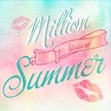 Million Kisses of Summer typographic design. Million Kisses of Summer typographic bright design vector illustration