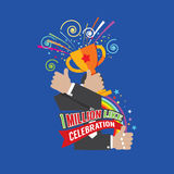 1 Million Likes Celebration. 1 Million Likes Celebration Vector Illustration Stock Photos