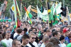 Million Marijuana March. WARSAW - MAY 26: Unidentified march participants on legalizing marijuana during the Million Marijuana March, on May 26, 2012 in Warsaw Royalty Free Stock Image