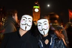 Million Mask March in London Royalty Free Stock Photo