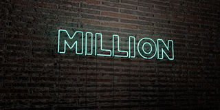 MILLION -Realistic Neon Sign on Brick Wall background - 3D rendered royalty free stock image. Can be used for online banner ads and direct mailers vector illustration
