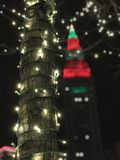 FANTASTIC CHRISTMAS AND HOLIDAY LIGHTS IN CLEVELAND`S NEW PUBLIC SQUARE royalty free stock photos