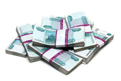 Million rubles - heap of bills in packs Stock Image