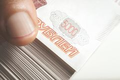 Million Russian rubles. The concept of wealth, profits, business and finance. Stack money in the five thousandth bills banknotes. Million Russian rubles. The royalty free stock photos