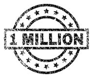 Grunge Textured 1 MILLION Stamp Seal. 1 MILLION stamp seal watermark with distress style. Designed with rectangle, circles and stars. Black rubber print of 1 vector illustration