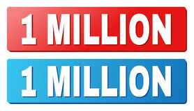 1 MILLION Text on Blue and Red Rectangle Buttons. 1 MILLION text on rounded rectangle buttons. Designed with white caption with shadow and blue and red button royalty free illustration