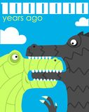 Million years ago. Humorous poster of a cartoon. Vector illustration. Card or cover royalty free illustration