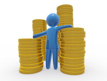 Millionaire. Figure lean on pile of coins. Concept of saving and controlling money Stock Images