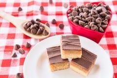 Millionaire Bars Chocolate Caramel Cookies With Heart Bowl Stock Photos