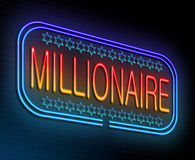 Millionaire concept. Illustration depicting an illuminated neon sign with a millionaire concept Stock Photography
