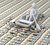 Millionaire. 3d human floats in the boat on money Stock Photos