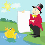 Millionaire and a goldfish. Millionaire demands from a goldfish to grant his desires Royalty Free Stock Photography