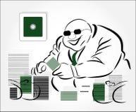 Millionaire with money. On grey background Stock Image