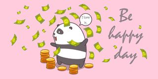 Millionaire panda in cartoon style. stock illustration