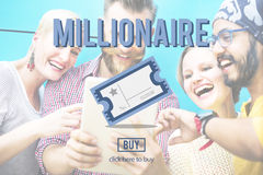 Millionaire Prize Ticket Lottery Concept.  Stock Photo
