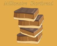 Millionaire shortbread in a stack on a caramel background. An illustration of a stack of millionaire shortbreads with chocolate and caramel on a toffee color Royalty Free Stock Photography