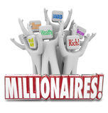 Millionaires People Earning Money Getting Rich Wealthy Affluent. Millionaires 3d word in front of people with terms like wealthy, well-off, affluent, rich Stock Images