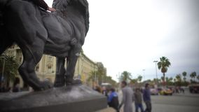 Millions of tourists viewing sculptures and architecture in historic city center. Stock footage stock footage