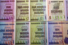 Millions, trillions and billions. Background. Banknotes Zimbabwe.millions, trillions and billions Royalty Free Stock Photography
