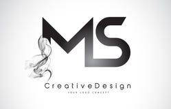 Milliseconde Letter Logo Design avec de la fumée noire Photo libre de droits